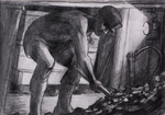 Hewer filing a tub (PENCIL AND GRAPHITE  1984)